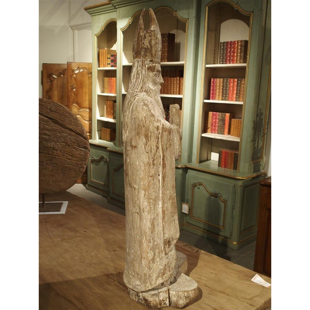 Early 1800s Partially Stripped French Wood Statue of St Martin De Tours For Sale In Dallas - Image 6 of 13