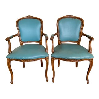 Vintage Louis XV Style Leather Upholstered Fauteuil Armchairs- A Pair For Sale