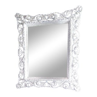 Antique Carved Frame White Beveled Mirror For Sale