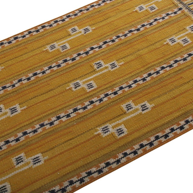 Mid-Century Modern Rug & Kilim's Scandinavian Style Striped Gold and Black Wool Kilim Runner For Sale - Image 3 of 6