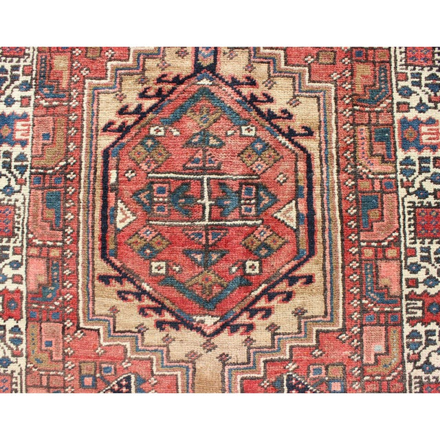 Textile 1950s Semi Antique Karadjeh Runner Rug - 3′6″ × 15′6″ For Sale - Image 7 of 13