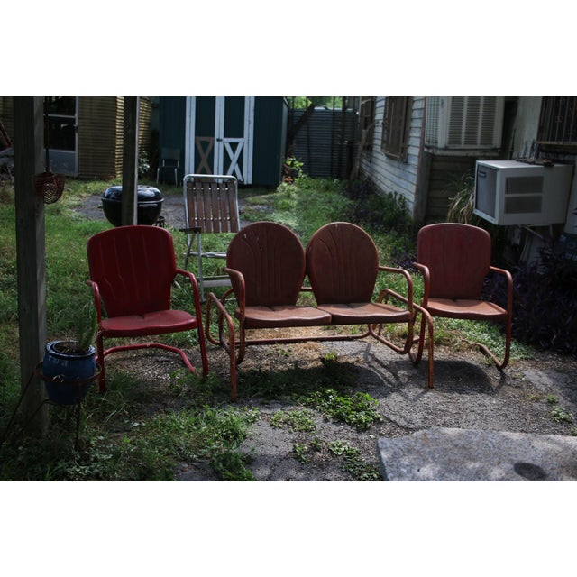 Vintage Metal Patio Glider & Two Chairs - Set of 3 For Sale - Image 9 of 10