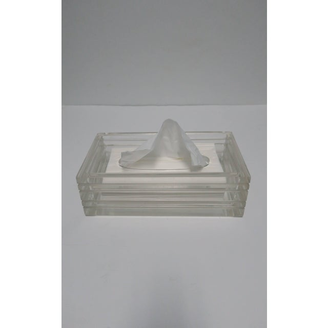 A beautiful and substantial vintage Modern Lucite tissue box in the style of American Designer, Charles Hollis Jones,...