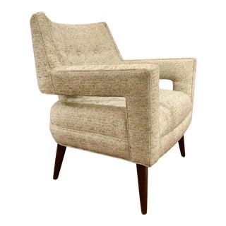 Mid-Century Modern Style Kravet Oatmeal Tweed Vega Lounge Chair For Sale