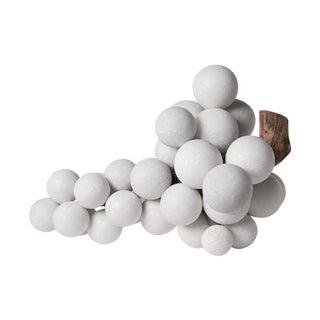 Simon Paul Scott Solid White Marble Grape & Wood Stem Sculpture