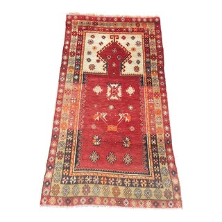 Semi-Antique Hand Woven Turkish Prayer Rug W/ Narrow Mihrab & Soft Colors-Estate Find