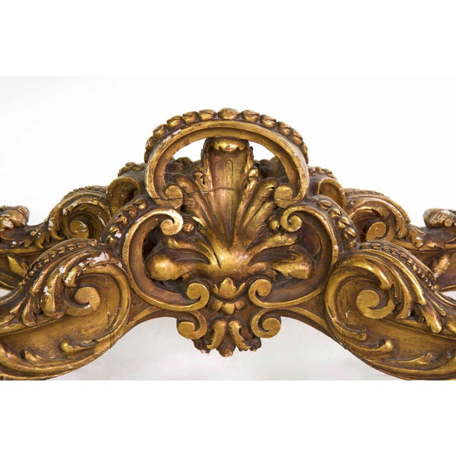Purple 19th Century French Louis XV Style Giltwood Center Table circa 1870 For Sale - Image 8 of 11