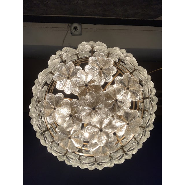 Gold Small Ernst Palme Floral Glass Chandelier For Sale - Image 8 of 10
