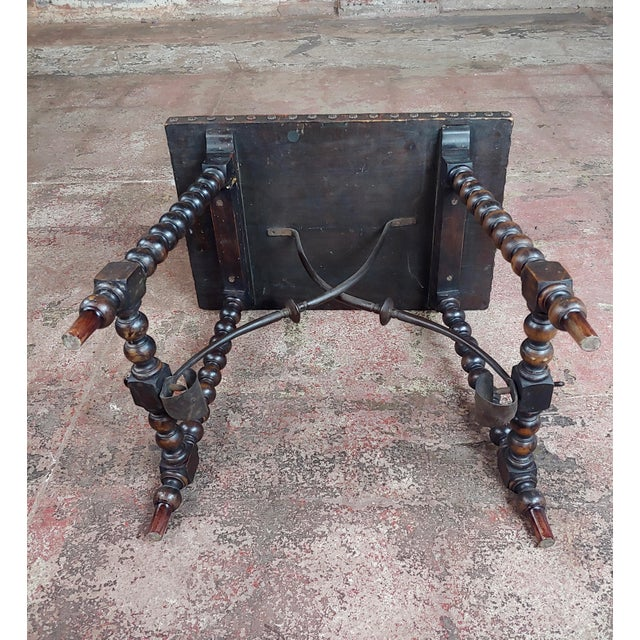 18th Century Spanish Revival Leather Top Trestle Occasional Table For Sale - Image 10 of 11