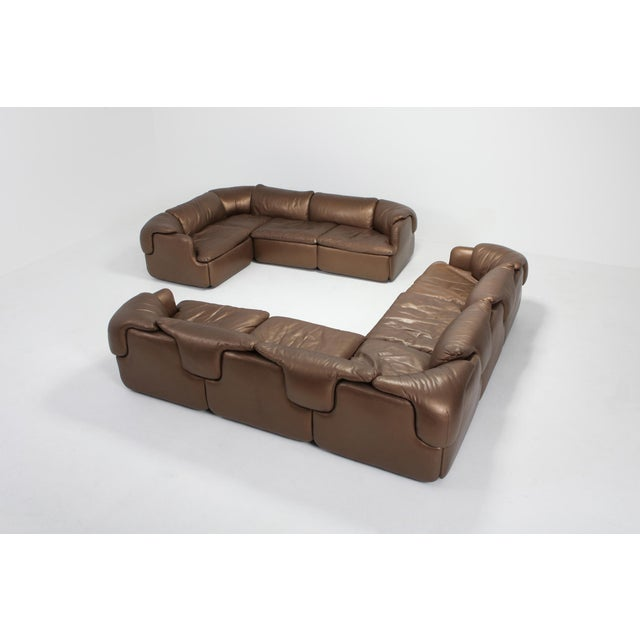 Bronze Leather Saporiti High-End Sectional Sofa 'Confidential' For Sale - Image 6 of 12