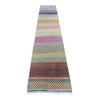 Mid 20th Century Vintage Turkish Striped Runner-2′4″ × 10′ For Sale