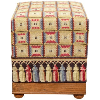 Vintage Needlepoint Foot Stool For Sale