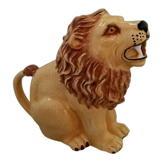 Lion Ceramic Pitcher Vintage For Sale