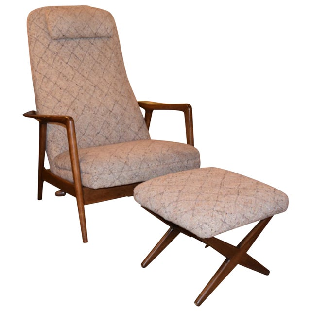Folke Ohlsson Mid-Century Chair & Ottoman For Sale
