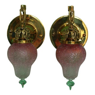 Solid Brass Sconces Wit Loetz Shades - a Pair For Sale