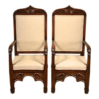 19th Century Pair of Gothic Armchairs For Sale