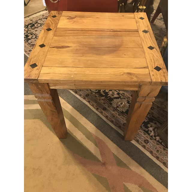 Boho Chic Beautiful Solid Wood Side Table With Inlaid Ebony Diamond Design. For Sale - Image 3 of 5