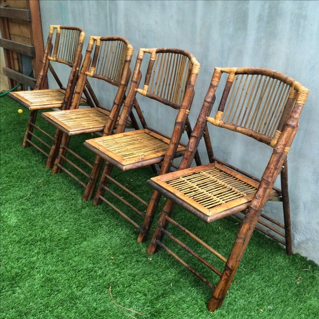 Bamboo Folding Chairs - Set of 4 - Image 3 of 11