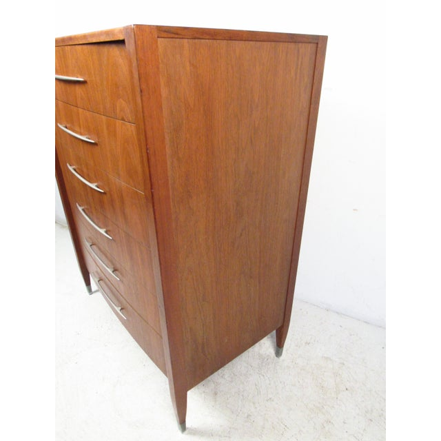 Metal Mid-Century Walnut Dresser With Chrome Accenting by Sligh Furniture For Sale - Image 7 of 13