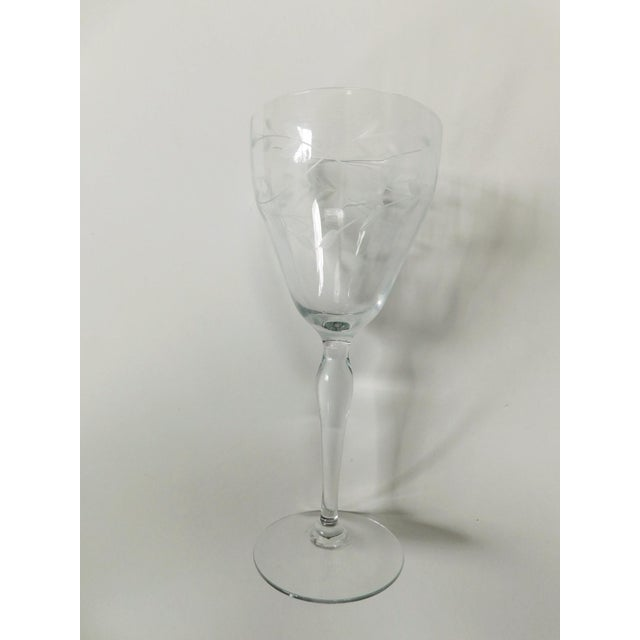 1940s Etched Clear Wine Glasses - Set of 4 For Sale - Image 5 of 13