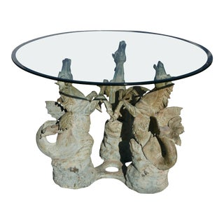 Bronze Hippocampus Center Table with Verdigris Patina For Sale