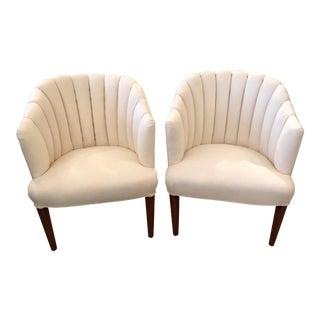 1940s French Channel Back Club Chairs - a Pair For Sale