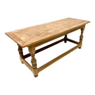 Antique English Bleached Oak Dining or Work Table For Sale