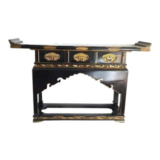Antique Chinese Temple Alter Table Sandalwood Pagoda Gilt Console For Sale