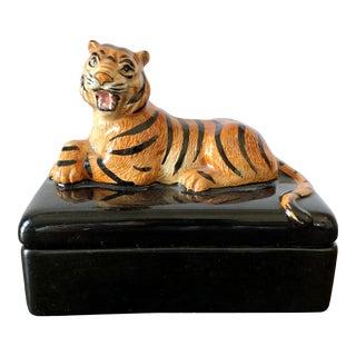 Vintage Fitz & Floyd Tiger Trinket Box For Sale