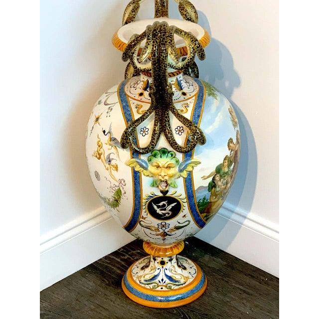 Stunning Ginori Majolica Allegorical Serpent Handled Vase For Sale - Image 9 of 13
