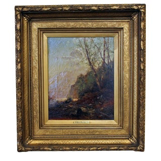 "Late 19th Century Antique Arthur Parton ""Boy Contemplating Fishing"" Painting"