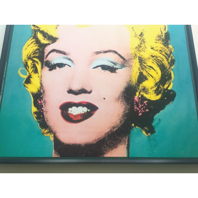 "Turquoise Andy Warhol Vintage 1988 Lithograph Print Framed Pop Art Poster "" Marilyn "" 1964 For Sale - Image 8 of 13"