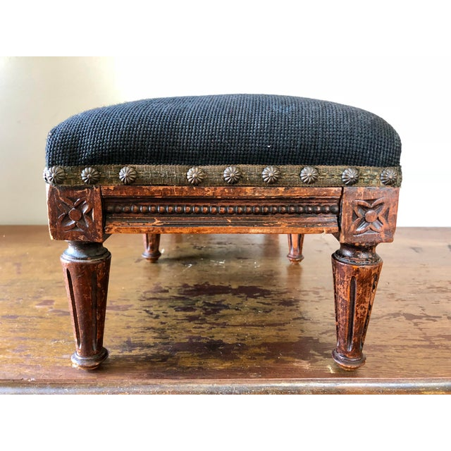 Antique French Six Leg Needlepoint Footstool For Sale - Image 4 of 7