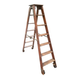 Vintage Arts and Crafts Folding Library Ladder For Sale