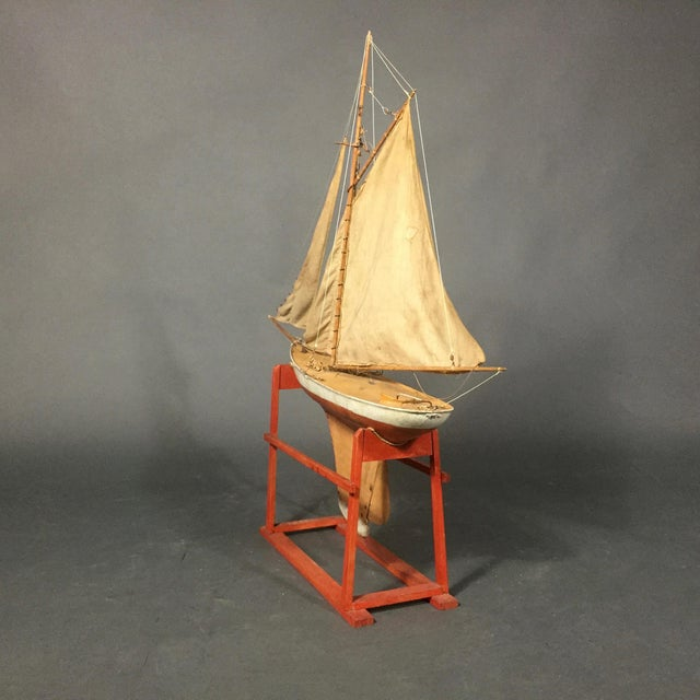 Late 19th Century Late 19th Century Tin Pond Sailboat on Stand For Sale - Image 5 of 11