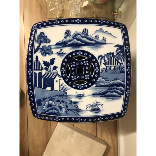 1980s Chinoiserie Blue & White Pagoda Garden Stool For Sale In Boston - Image 6 of 9