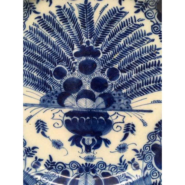 Traditional Antique Delft Peacock Plate Circa 1750 Blue & White For Sale - Image 3 of 6