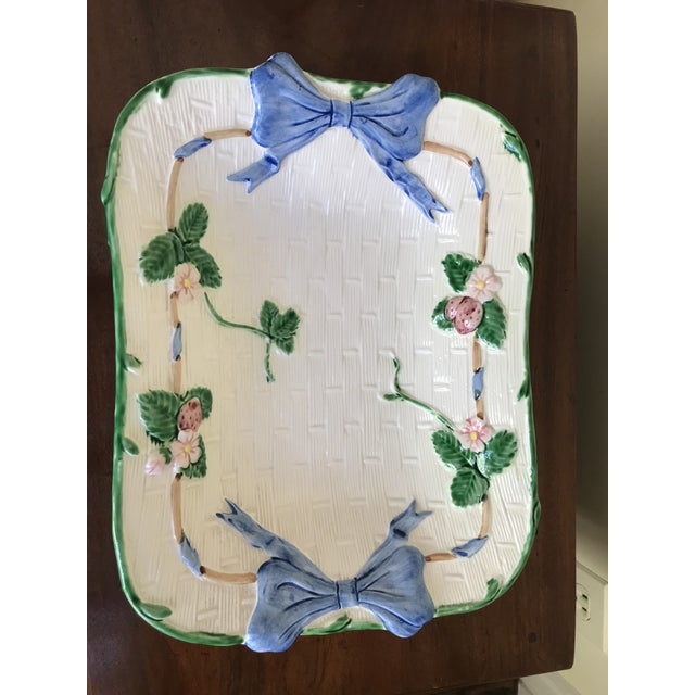 Shabby Chic Vintage Painted Strawberry Compote on Stand For Sale - Image 3 of 6