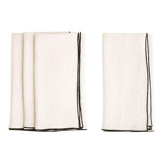 Cathedral with Black Trim Linen Napkin - Set of 6 For Sale