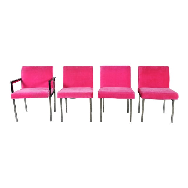 Vintage American of Martinsville Mid Century Modern Hot Pink & Chrome Dining Chairs - Set of 4 For Sale
