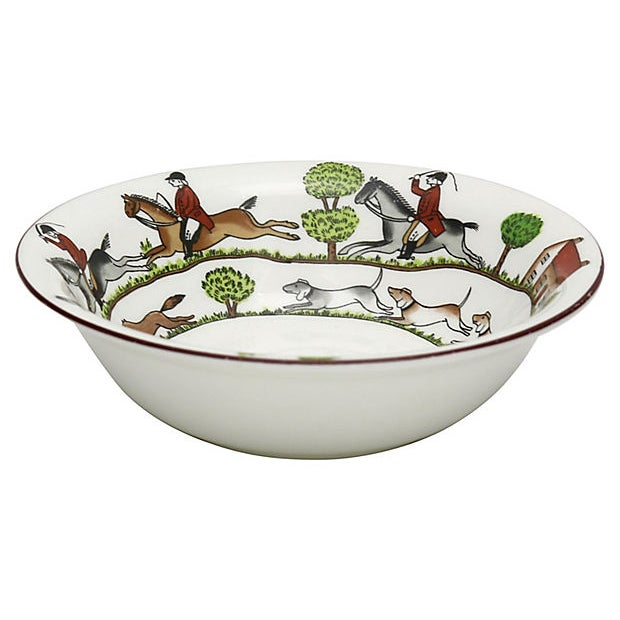 Country English Hunting Scene Coupe Cereal Bowl For Sale - Image 3 of 3