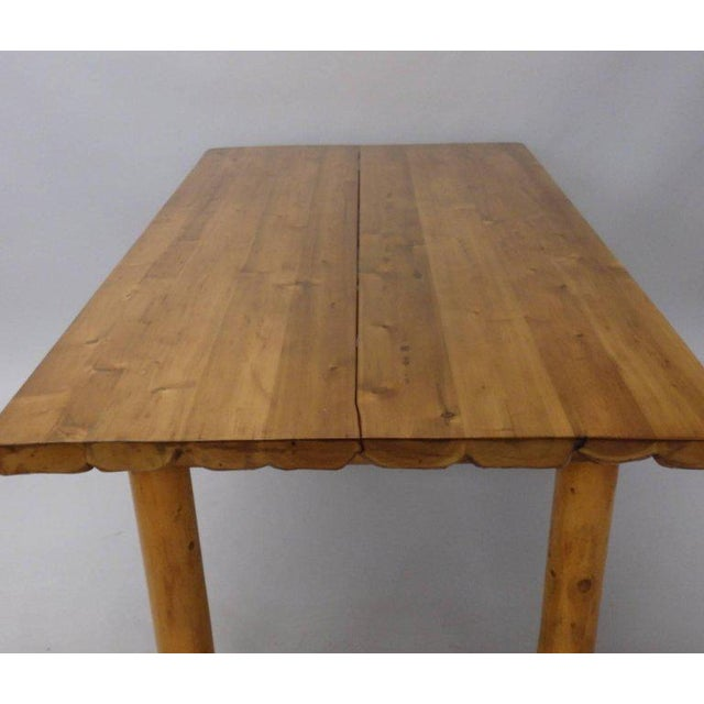 Mid 20th Century Knotty Pine Rustic Adirondack Ranch or Cottage Dining Table With Benches For Sale - Image 5 of 10