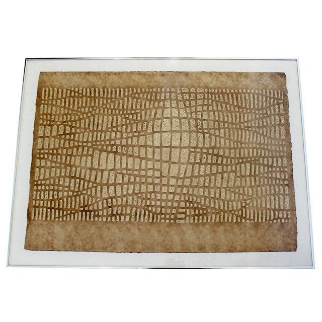 Lithograph Mid-Century Modern Framed Textured Paul Maxwell Lithograph For Sale - Image 7 of 7
