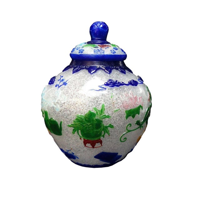 Art Deco Vintage Chinese Icy White Peking Glass Vase Jar For Sale - Image 3 of 7