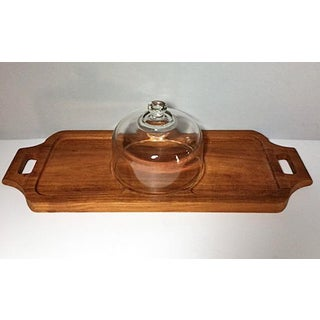 1970s Vintage Goodwood Teak Cheese Tray With Glass Dome Preview