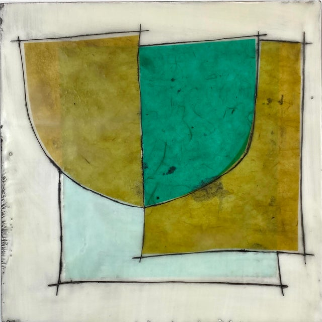 """Wood """"Elsewhere"""" Original Encaustic Collage Installation by Gina Cochran - Blue and Teal - 16 Panels For Sale - Image 7 of 13"""