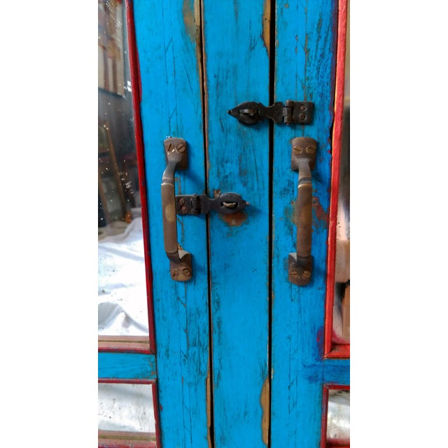 Reclaimed Wood & Antiqued Mirror Farm House Buffet - Image 6 of 11