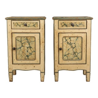 Early 20th Century Italian Faux Marble Painted Nightstands-a Pair For Sale