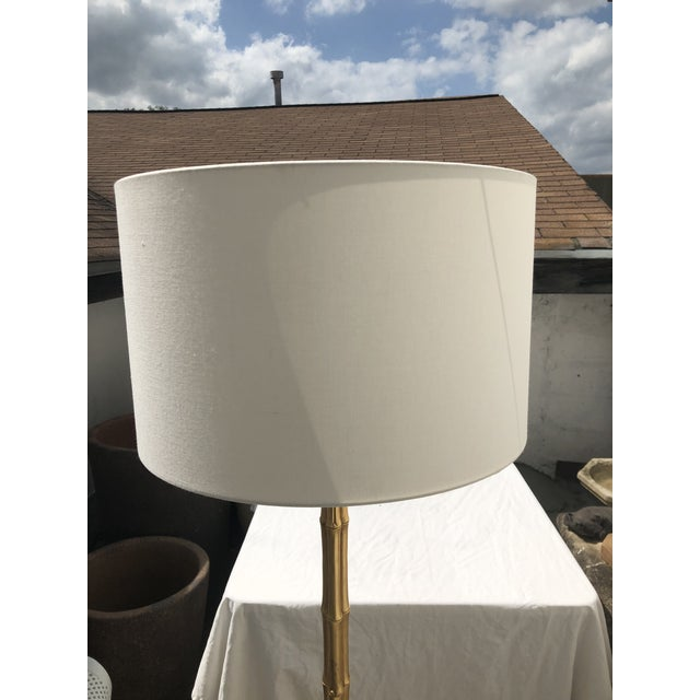 Contemporary Gilt Metal Faux Bamboo Floor Lamp by Circa Lighting For Sale - Image 3 of 13