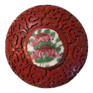 1960s Vintage Chinese Cinnabar Trinket Box For Sale
